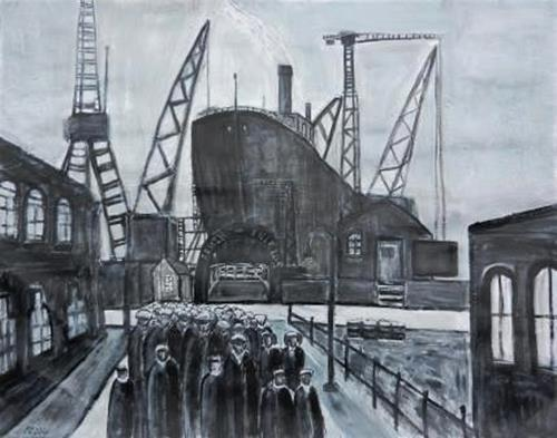 Peter Seiler, South Shields Harbour, People: Group, Contemporary Art, Abstract Expressionism