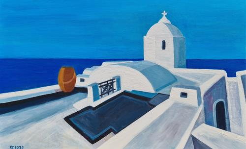 Peter Seiler, Santorini view, Landscapes: Sea/Ocean, Contemporary Art