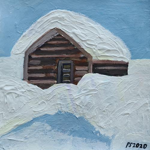Peter Seiler, Verschneiter Stadel, Landscapes: Winter, Concrete Art