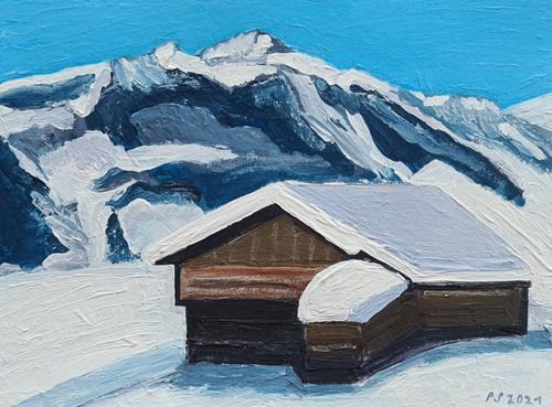 Peter Seiler, Heustadel im Schnee, Landscapes: Mountains, Contemporary Art