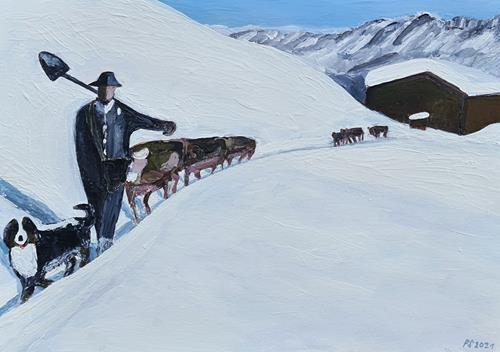 Peter Seiler, Bergbauer im Schnee mit Kühen, Landscapes: Mountains, Contemporary Art
