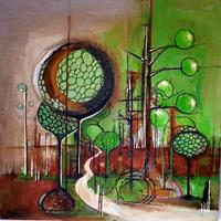 Vera-Weber-Nature-Wood-Fantasy-Modern-Age-Expressionism-Abstract-Expressionism