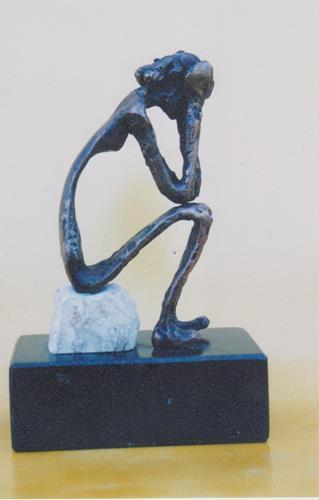 Helmut Schuster, Sinnende, auf Stein sitzend, Animals, Contemporary Art