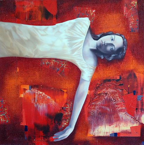 Emil Hasenrick, Figurative, 100 x 100 cm, 1, People: Women, Abstract art, Realism, Abstract Expressionism