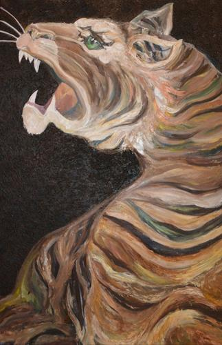 Mikabria, Tiger Gri, Fantasy, Animals: Land, Procesual Art, Expressionism