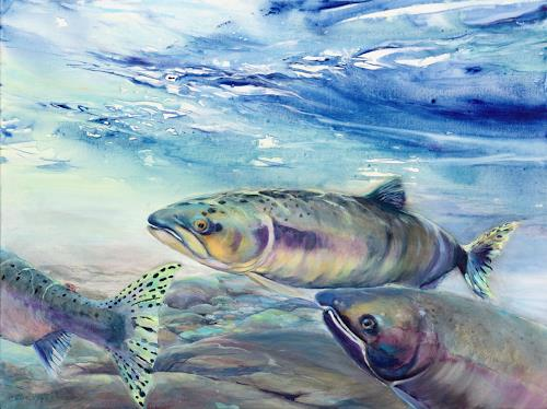Joseph Wyss, Pink Salmon, Animals: Water, Nature: Water, Contemporary Art, Expressionism