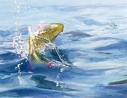 Joseph Wyss, Bachtellachs auf Jagd, Animals: Water, Hunting, Contemporary Art