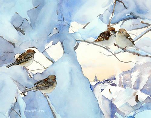 Joseph Wyss, Spatzen Meeting, Animals: Air, Landscapes: Winter, Contemporary Art