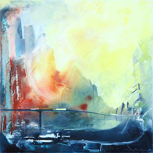Joseph Wyss, Cityscape, Buildings: Skyscrapers, Abstract art, Contemporary Art, Expressionism