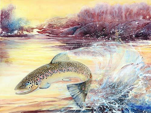 Joseph Wyss, jumping brown trout, Animals: Water, Nature: Water, Contemporary Art