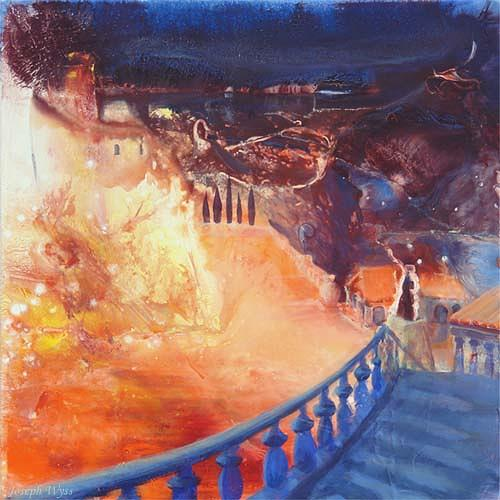 Joseph Wyss, Mezzanotte con  fuoco, Miscellaneous Landscapes, Miscellaneous Romantic motifs, Contemporary Art