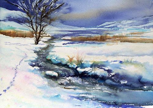 Joseph Wyss, Winter am Bach mit Fuchs, Landscapes: Winter, Animals: Land, Expressive Realism, Expressionism