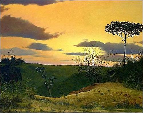 Eduardo Estrada, Atardecer, Romantic motifs: Sunset, Miscellaneous Landscapes, Expressionism