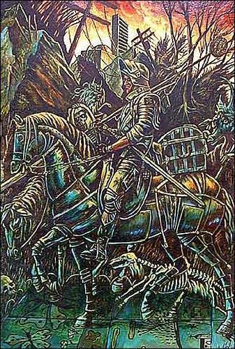 Omar Gonzáles, El caballero, la muerte y el diablo, War, Mythology
