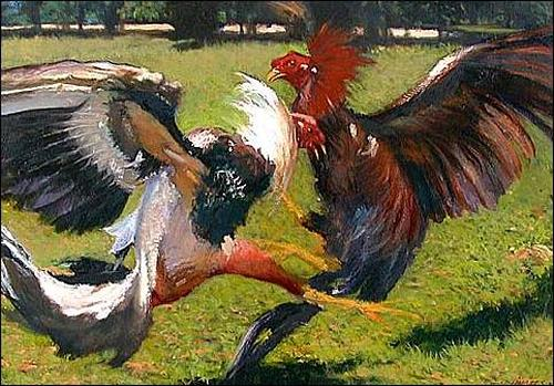 Lorenzo Linares, Paisaje con gallos, Animals: Land, Miscellaneous Animals, Expressionism
