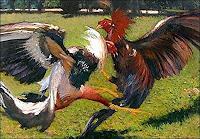 L. Linares, Paisaje con gallos