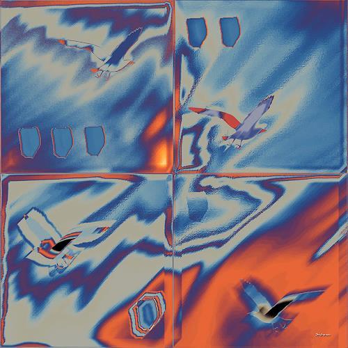 Dieter Bruhns, Orange Blue, Abstract art, Animals: Air, Contemporary Art