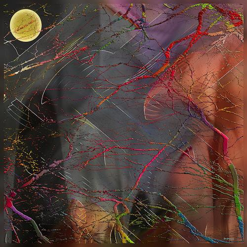 Dieter Bruhns, When the Moon is Drifting Along, Fantasy, Abstract Art
