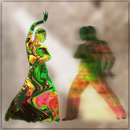 Dieter Bruhns, Green Dance, Movement, Abstract Art