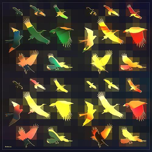 Dieter Bruhns, Flying Pixels, Fantasy, Abstract Art