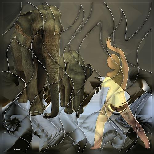 Dieter Bruhns, Trainer, dancing with his Elephants, Fantasy, Abstract Art