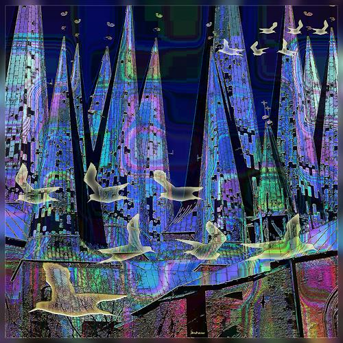 Dieter Bruhns, Towers and Birds, Fantasy, Abstract Art