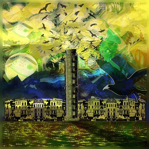 Dieter Bruhns, Coastal City, Fantasy, Abstract Art