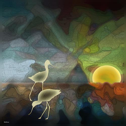 Dieter Bruhns, Seabirds Navigation, Fantasy, Abstract Art