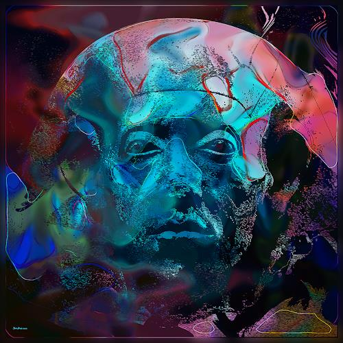 Dieter Bruhns, Ancient Face, Fantasy, Abstract Art