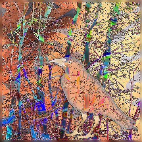 Dieter Bruhns, Bird and Bush, Fantasy, Abstract Art