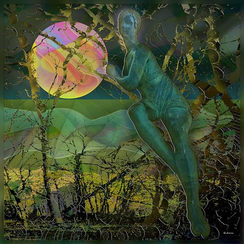 Dieter Bruhns, Lean on the Moon, Fantasy, Abstract Art