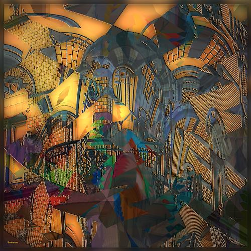 Dieter Bruhns, Balcony, Fantasy, Abstract Art