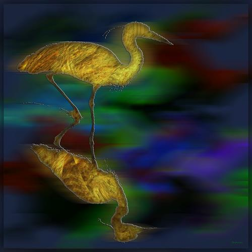Dieter Bruhns, Seabird and Mirror, Fantasy, Abstract Art