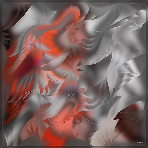 Dieter Bruhns, Dance of Red and Gray, Fantasy, Abstract Art