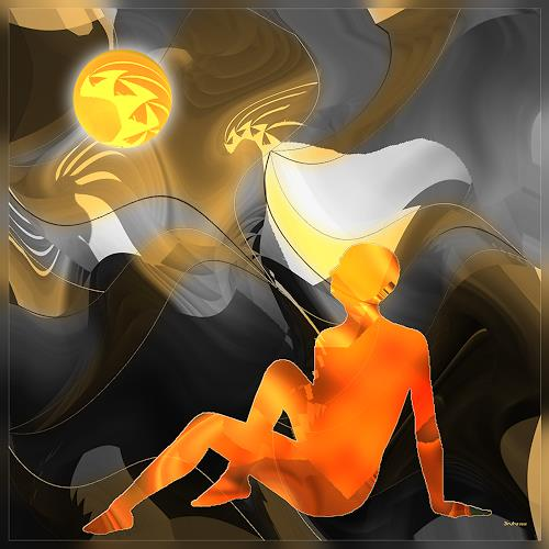 Dieter Bruhns, Figure and Ball, Fantasy, Abstract Art