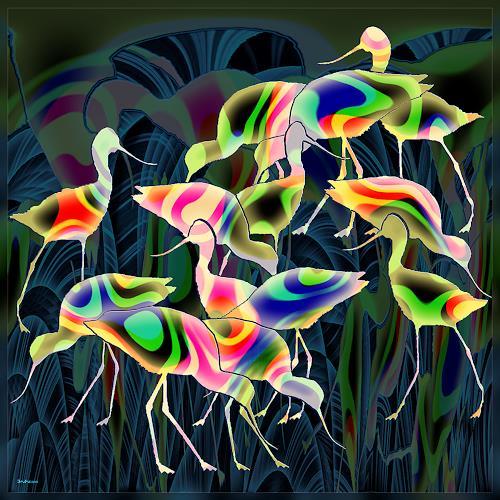Dieter Bruhns, Seabirds Formation, Fantasy, Abstract Art