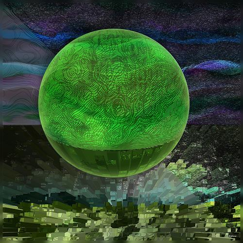 Dieter Bruhns, Green Moon, Fantasy, Abstract Art