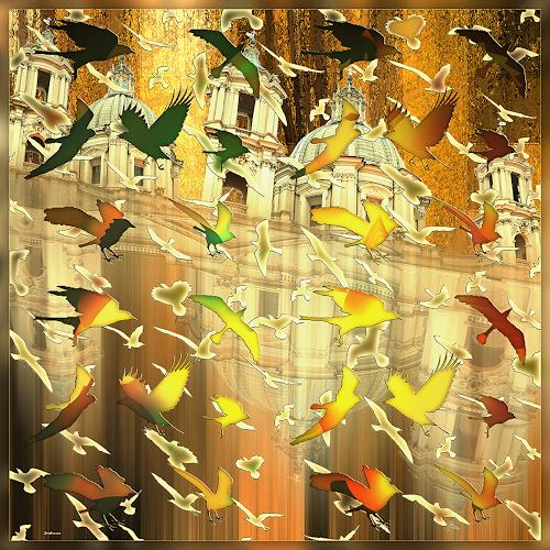 Dieter Bruhns, Bird's Home, Fantasy, Abstract Art