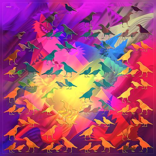 Dieter Bruhns, Tidy Birds, Fantasy, Abstract Art