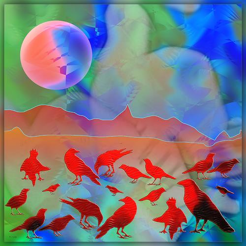 Dieter Bruhns, Red Birds, Fantasy, Abstract Art