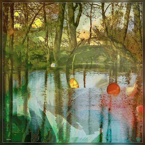 Dieter Bruhns, Swimming Balls, Fantasy, Abstract Art