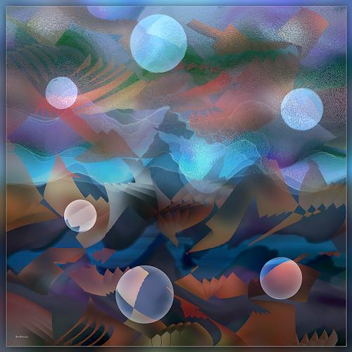 Dieter Bruhns, Bubbles in a Scape, Fantasy, Abstract Art
