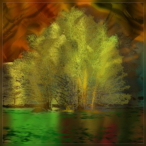 Dieter Bruhns, Meadow Island, Fantasy, Abstract Art