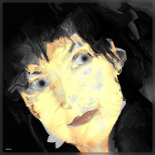 Dieter Bruhns, Female Portrait, Kerstin, People: Portraits, Abstract Art, Abstract Expressionism