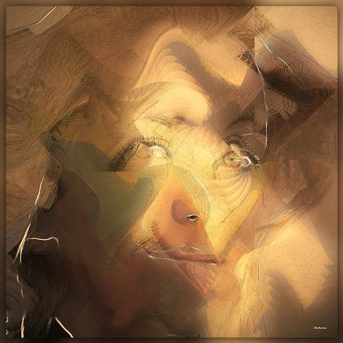Dieter Bruhns, Female Portrait, Losing Herself, People: Portraits, Abstract Art