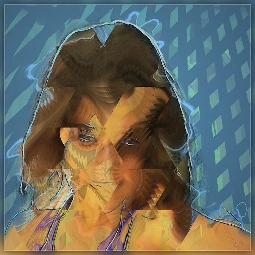 Dieter Bruhns, Female Portrait, Angry, People: Portraits, Abstract Art