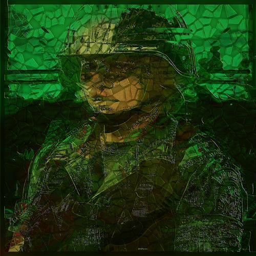 Dieter Bruhns, Female Portrait, Military, People: Portraits, Abstract Art