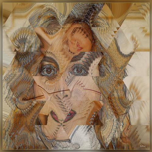 Dieter Bruhns, Female Portrait, Focusing, People: Portraits, Abstract Art