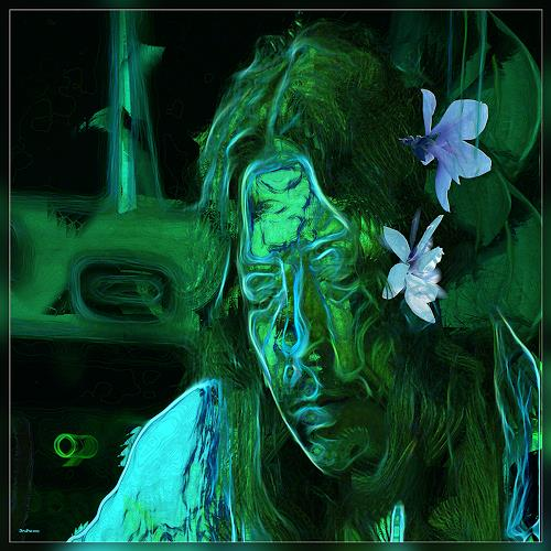 Dieter Bruhns, Male Portrait, Thinking Green, People: Portraits, Abstract Art