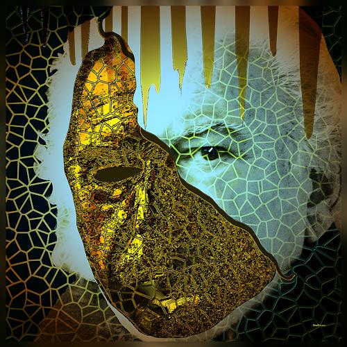 Dieter Bruhns, Male Portrait, Mask, People: Portraits, Abstract Art